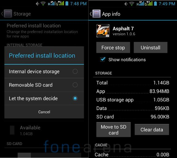 Micromax Canvas Doodle Install location and Move to SD