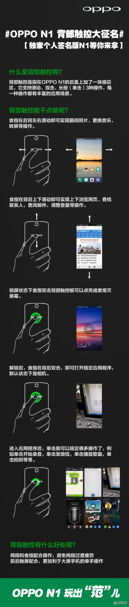 Oppo N1 rear touch features