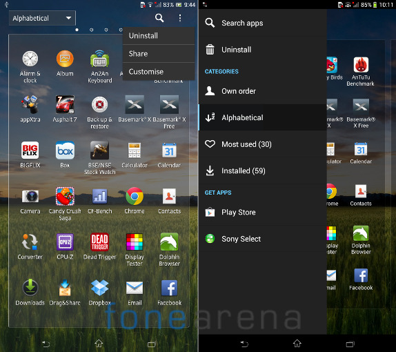 Sony Xperia Z Ultra New Slide out options in Apps Menu