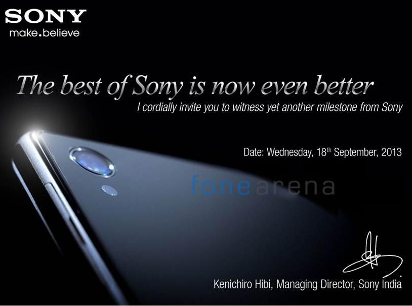 Sony India Xperia Z1 Launch Invite