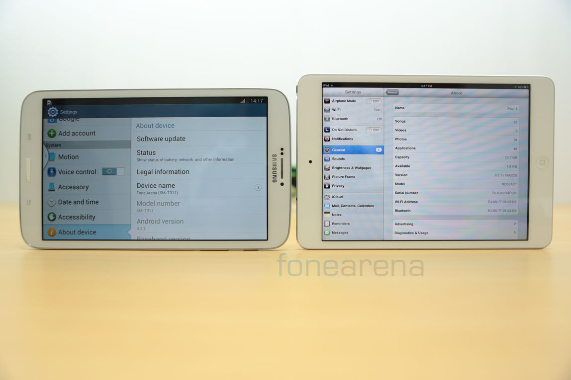 samsung galaxy tab 3 311 vs apple ipad mini