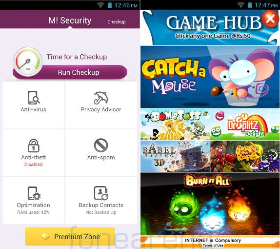 Micromax Canvas Turbo M Security and Game Hub