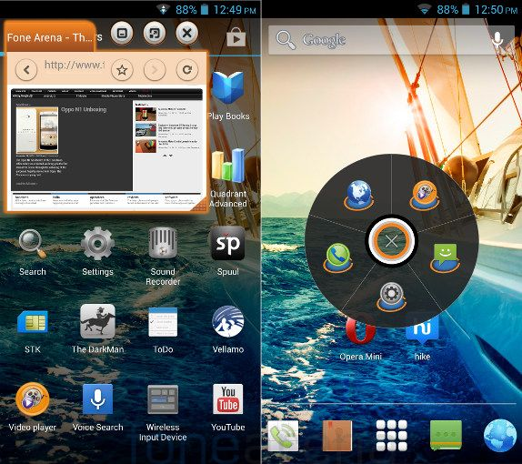 Micromax Canvas Turbo Popup Browser and iFloat Tray