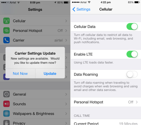 what is carrier settings update on iphone airtel releases carrier update for iphone 5s and 5c ahead 8036