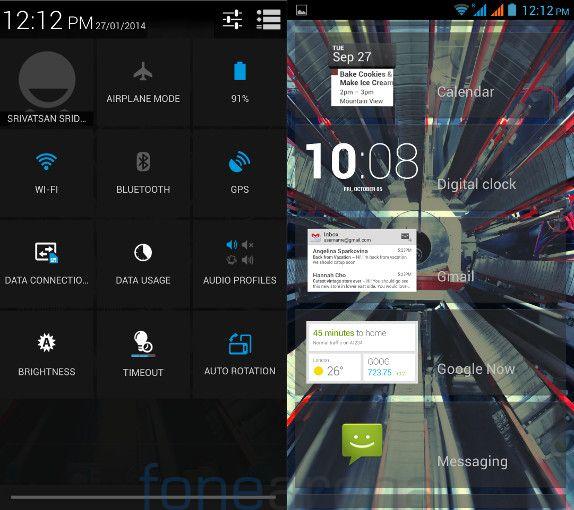 Xolo Q3000 Quick Settings and Lockscreen Widgets
