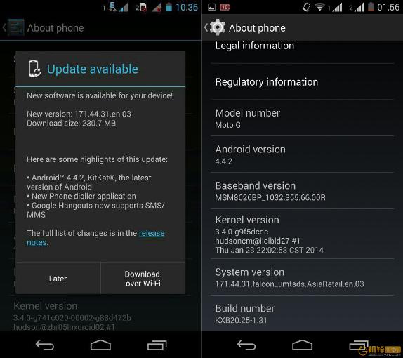 Moto G Dual SIM Android 4.4.2 Malaysia and Taiwan