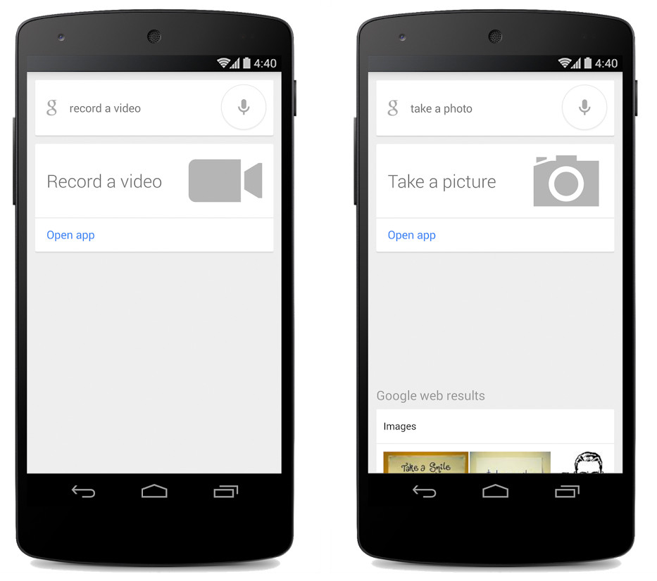 Google Search for Android Record Video and Take a Photo