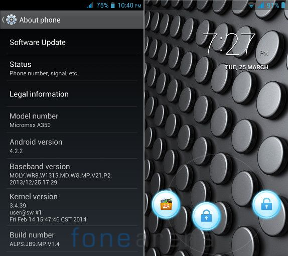 Micromax Canvas Knight A350 Android version and Lockscreen