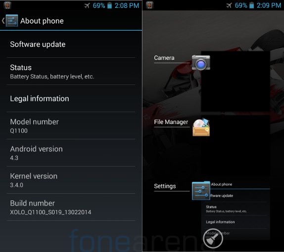 Xolo Q1100 About and Multitasking