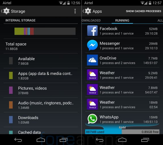 Motorola Moto X Internal memory and RAM