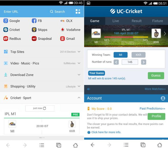 UC Browser for Android gets new cricket content and services