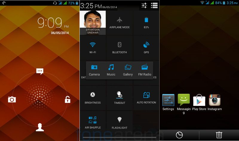 Lava Iris 504Q+ Lock screen, Air Shuffle and Recent apps