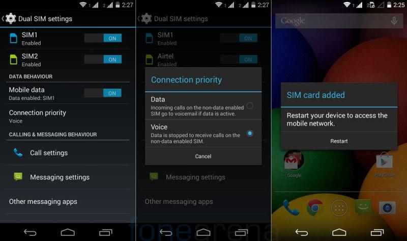 Moto E Dual SIM Settings