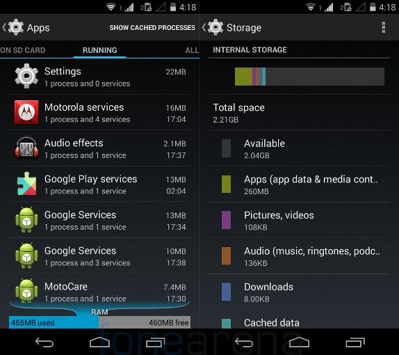 Moto E RAM and Internal Storage
