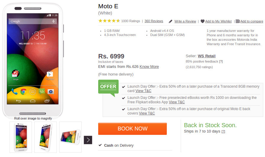 Moto E backordered Flipkart