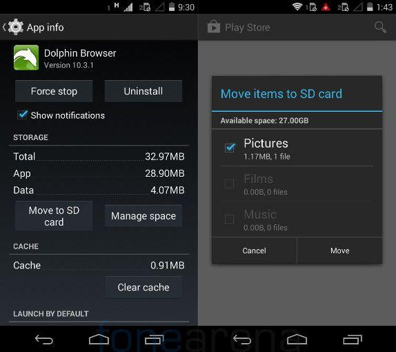 Moto E move to SD