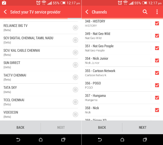 HTC Sense TV India program guide