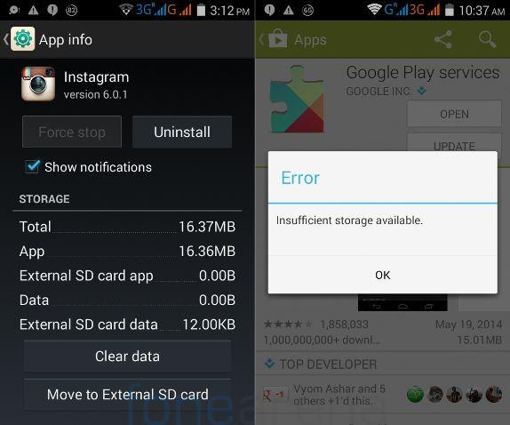 Micromax Unite 2 App2SD and Internal Storage full