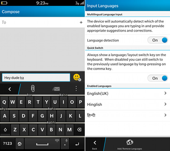 BlackBerry Z3 Keyboard and Input