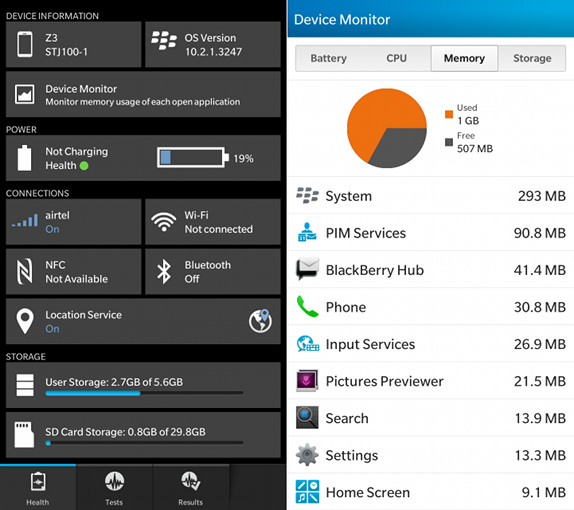BlackBerry Z3 RAM and Storage