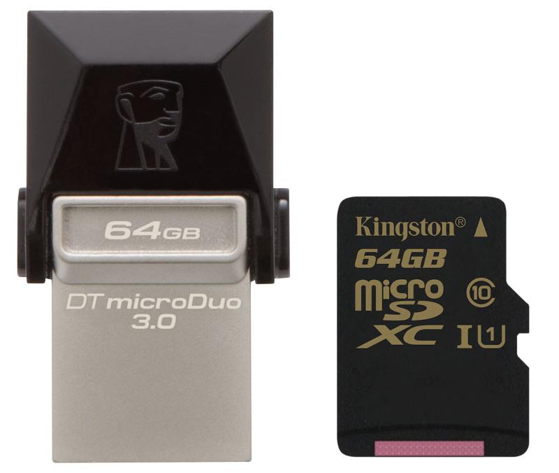 Kingston DataTraveler microDuo 3.0 and Class 10 UHS-I microSDHC card