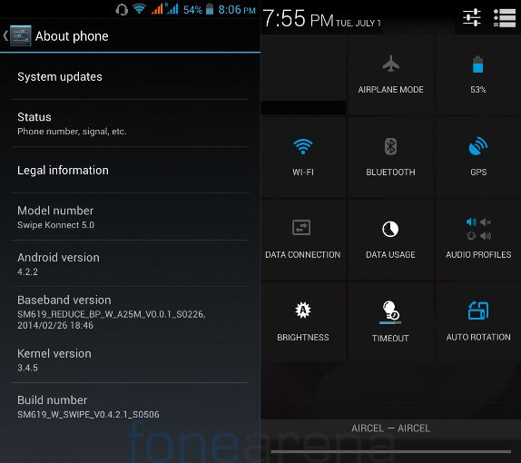 Swipe Konnect 5.0 Android version & Quick Settings