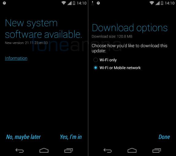 New Moto G v21.11.23 update