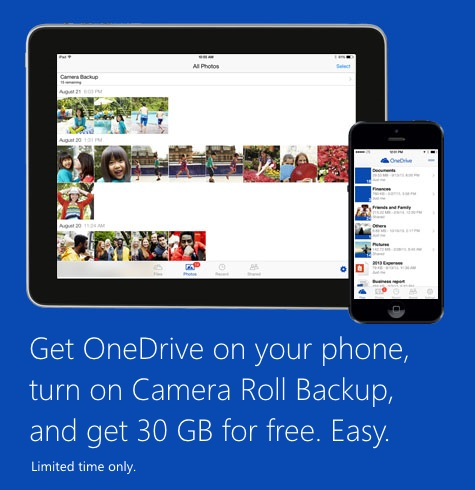 Microsoft Offers 30 GB Free in Onedrive for iOS Users, Android and Windows Phone