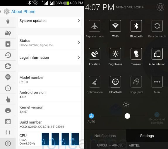 Xolo Q2100 Android Version and Quick Settings