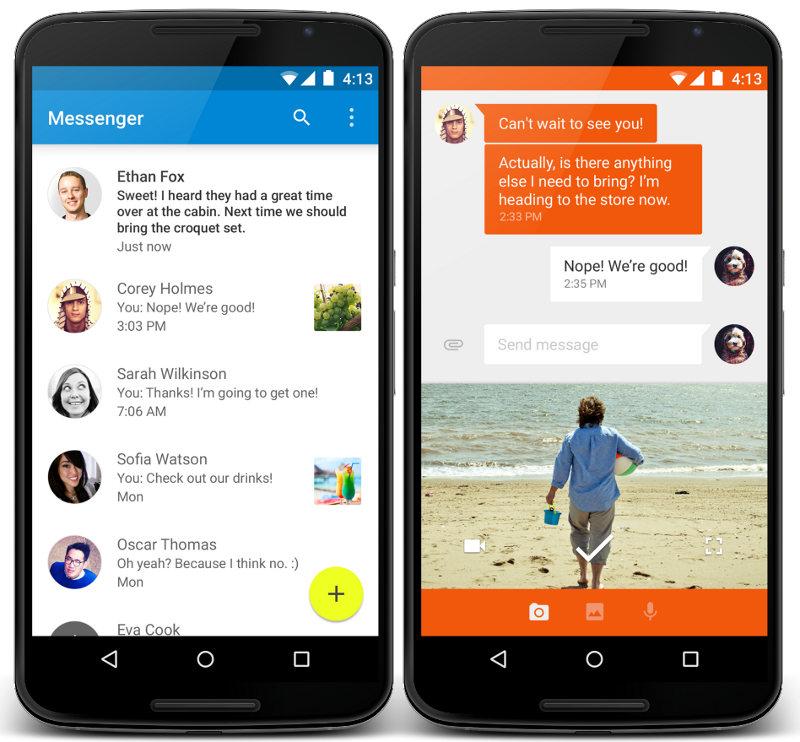 Copies d'écran pour Facebook Messenger