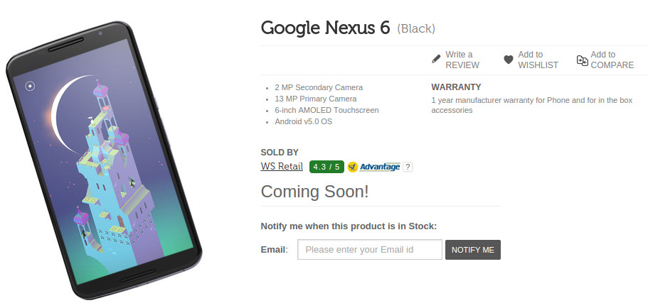 Nexus 6 Flipkart Coming Soon