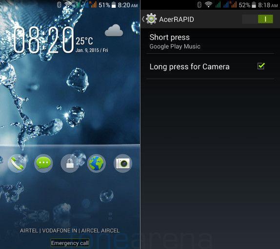Acer Liquid E700 Lockscreen and AcerRAPID