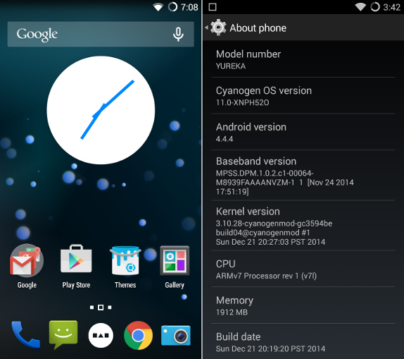YU YUREKA Homescreen and Android version