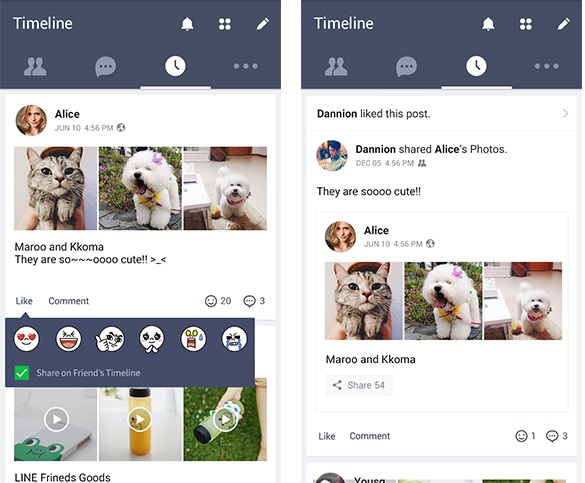 LINE android timeline