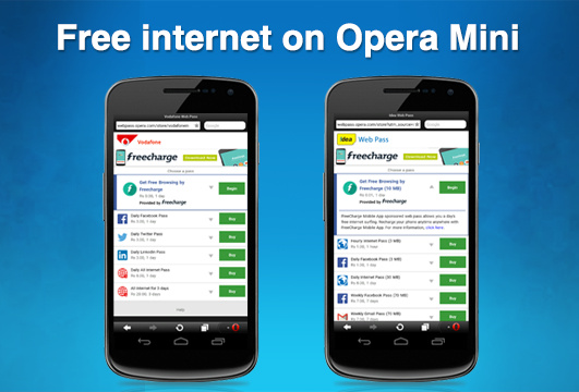 Opera offers free mobile internet sponsored by FreeCharge