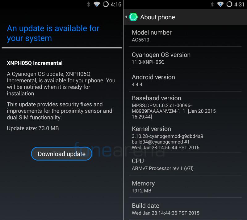 YU YUREKA XNPH05Q Cyanogen OS update