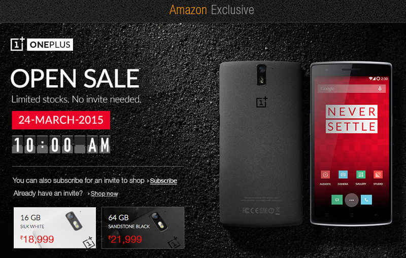 OnePlus One Open Sale India March 24