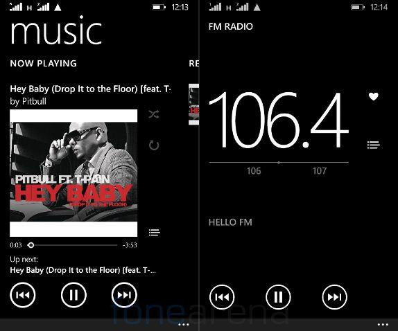 Microsoft Lumia 532 Music Player and FM Radio