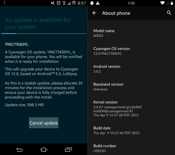 OnePlus One Cyanogen OS 12 Android 5.0