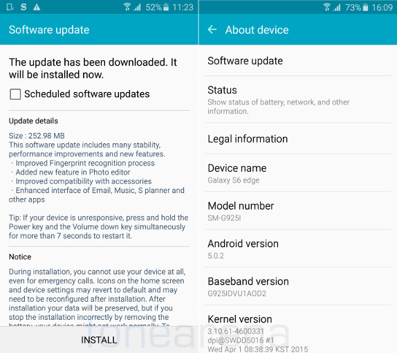 Samsung Galaxy S6 Edge gets the first OTA update, includes