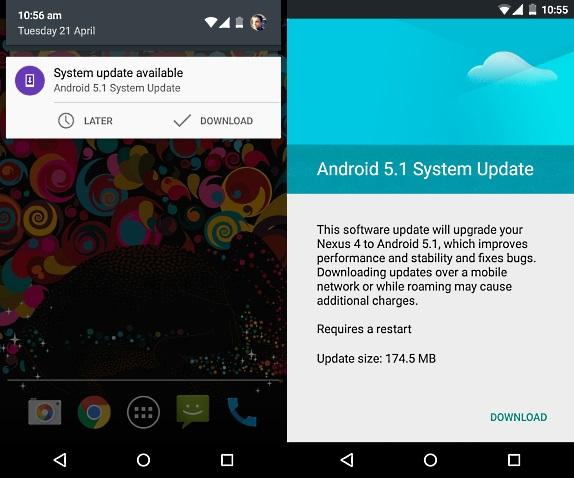Google Nexus 4, Nexus 7 receiving Android 5.1 Lollipop OTA update in India