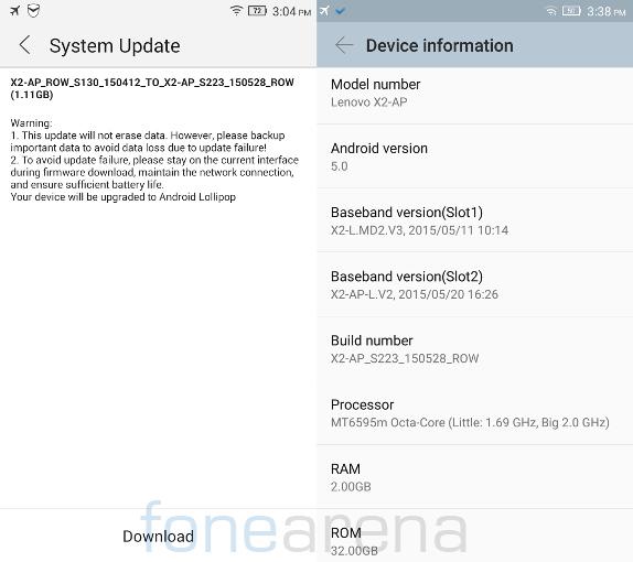 Lenovo Vibe X2 Android 5.0