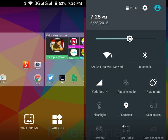 Micromax Unite 3 Home and Quick Settings