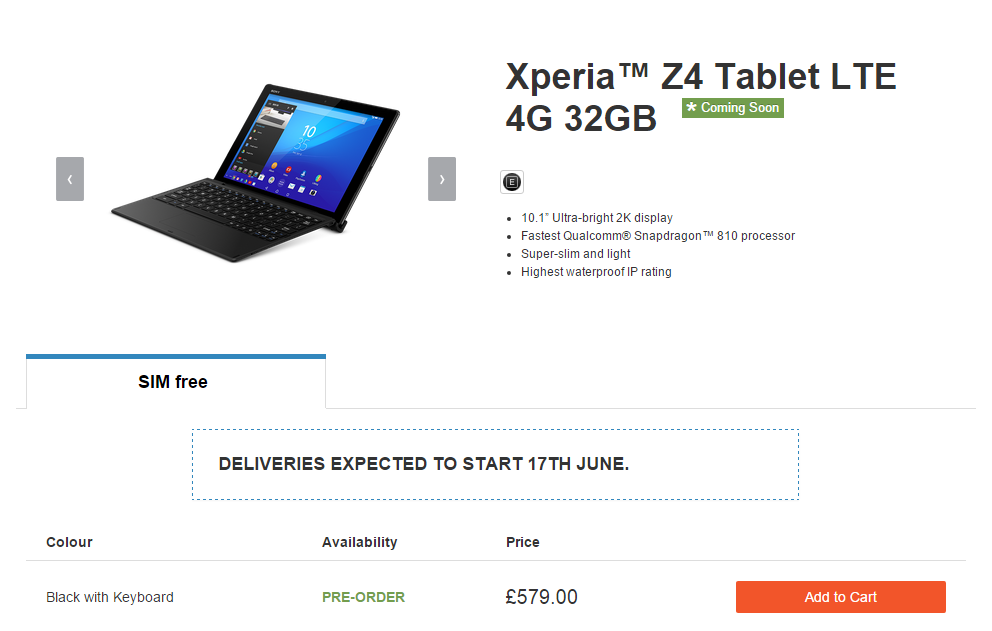 Sony delays the launch of XPERIA Z4 Tablet to June 17th in the UK