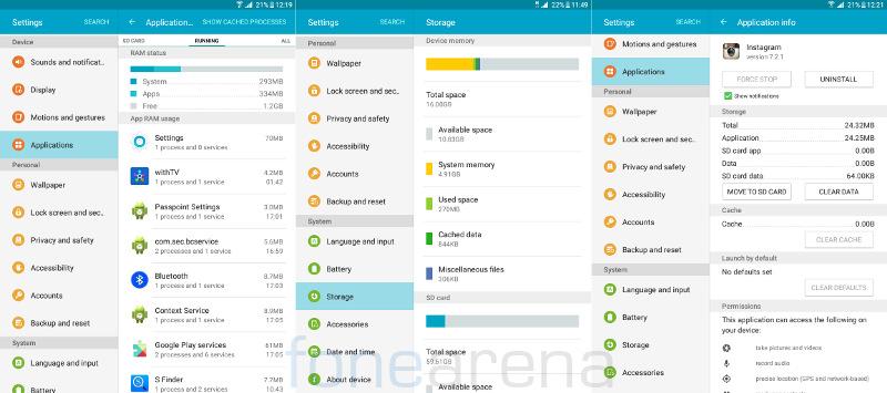 Samsung Galaxy Tab A RAM, Internal storage and App to SD