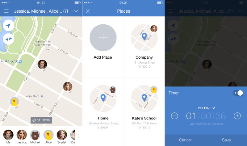 app to share location between iphone and android