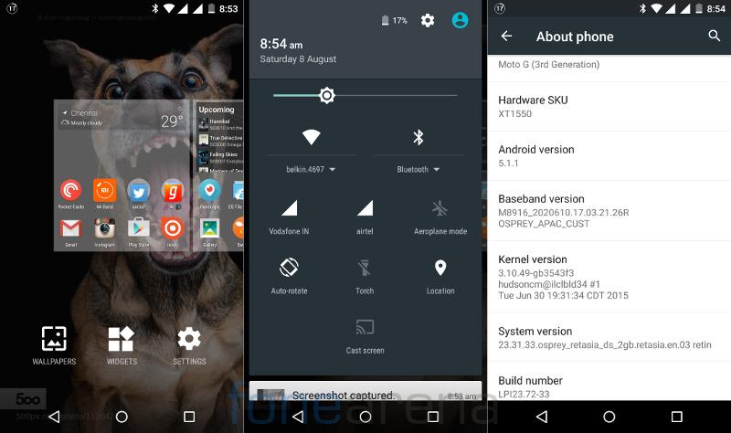 Motorola Moto G 3rd Gen Home, Notification, About