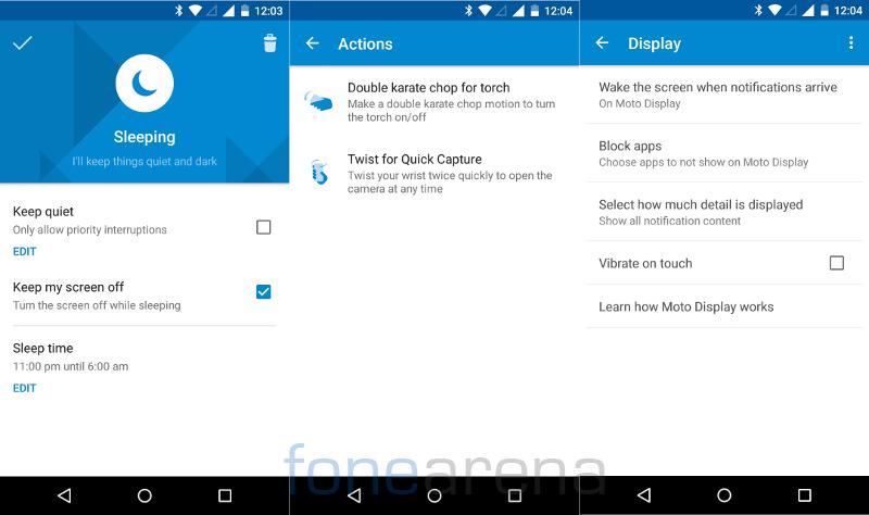 Motorola Moto G 3rd Gen Moto Assist, Actions and Display