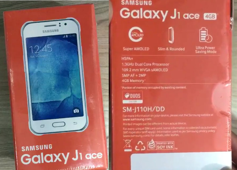 Samsung Galaxy J1 Ace box