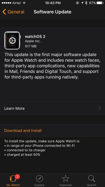 Apple watchOS 2 update
